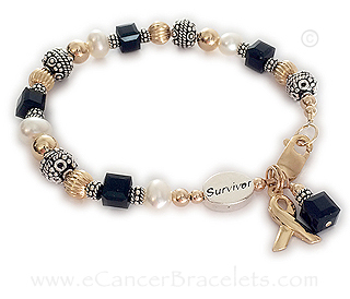 Black Melanoma Bracelet for Cancer Awareness with a Survivor Bead - CBB-R26